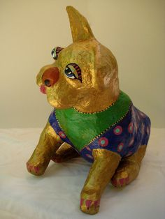 Paper Clay Sculpture Golden Lucky Dogs Likened to by KozmicMuffins