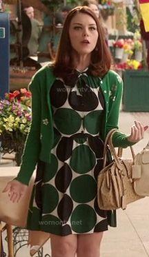 AnnaBeth's green polka dot dress on Hart of Dixie.  Outfit Details: http://wornontv.net/10449/ #HartofDixie