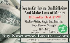 """Hair stylist, hair colorists, beauticians, etc. Offer your clients your own """"brand"""" of high quality Virgin Human Hair Extensions from Lovetress!"""