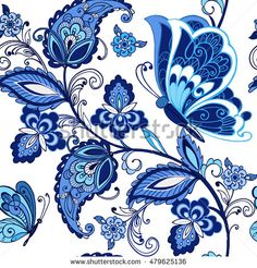 Vintage flowers ornament with but… Traditional oriental seamless paisley pattern. Vintage flowers ornament with butterflies in blue colors. Decorative ornament backdrop for fabric, textile, wrapping paper. Motif Paisley, Paisley Art, Paisley Pattern, Pattern Art, Paisley Design, Ink Painting, Fabric Painting, Tattoo Muster, Ornament Drawing