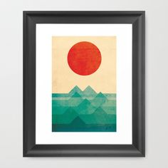 "The ocean, the sea, the wave Framed Art Print by Budi Satria Kwan - $37.00 but with Conservation Natural frame and 15"" x 21"""