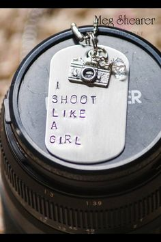 I Shoot Like A Girl Dog Tag Necklace Photographer on Etsy, $17.00