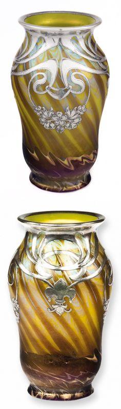 LOETZ Vase designed by Franz Hofstoetter, Phänomen Genre 356, with Art Nouveau floral silver overlay with fleur-de-lis.