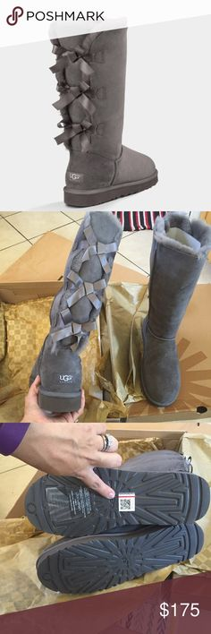 UGG authentic Bailey bow triplet tall boots Sz 11 UGG authentic Bailey bow triplet tall boots Sz 11 new 100% authentic style#1007308.. Qr holographic tag on left foot and I have receipt of purchase straight from Ugg as proof of authenticity . 100% authentic limited edition closetitem#10355 UGG Shoes