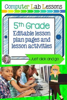 grade technology lesson plans and activities for the entire school year that will make a great supplement to your technology curriculum. These lesson plans and activities will save you so much time coming up with what to do during your computer lab ti Computer Lab Lessons, Computer Lab Classroom, Computer Teacher, Computer Projects, Computer Class, Technology Lessons, Teaching Technology, Educational Technology, Instructional Technology