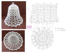 Schémy na zvončeky :-) - Her Crochet Crochet Christmas Decorations, Christmas Crochet Patterns, Crochet Ornaments, Crochet Decoration, Crochet Snowflakes, Christmas Knitting, Christmas Crafts, Crochet Chart, Thread Crochet