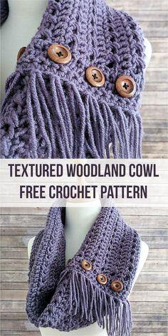 Textured Woodland Cowl [Free Crochet Pattern] #crochetlove #crochet #freepattern