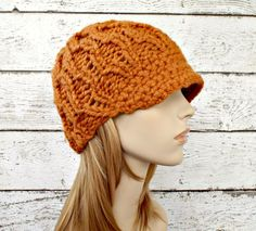 Orange Womens Hat Orange Newsboy Hat - Amsterdam Beanie Apricot Orange Knit Hat - Orange Beanie Womens Accessories - Ready To Ship by pixiebell on Etsy