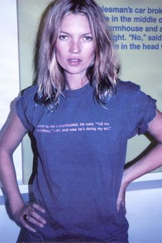 Kate Moss wearing the infamous Richard Prince psychiatrist joke.