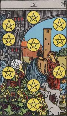 10 Pentacles Tarot Card Meaning Have you ever been trying to find a good psychic in order to have your cards read? www.beyondhereandnow.com