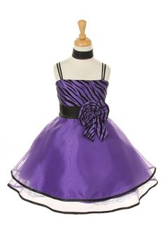 Girls Short Purple Zebra Print Dresses with Shawl
