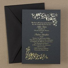 Black and Gold Wedding Invitations This elegant, contemporary invitation features two lovebirds perched on an ivy vine.