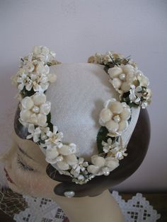 1950's Headband HatWhite Floral Birdcage by SusieQsVintageShop, $34.00