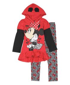 Another great find on #zulily! Red Minnie Mouse Layered Hoodie & Leggings - Girls #zulilyfinds