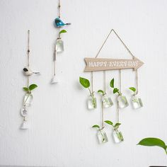 Ins creative Home Furnishing decorative glass bottle wall hanging hydroponic small VASE MINI transparent glass bottle Plants In Bottles, Small Glass Bottles, Glass Bottle Crafts, Diy Bottle, Glass Vase, House Plants Decor, Plant Decor, Bottle Wall, Diy Art Projects