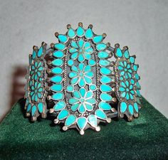 Vintage Zuni Indian Sterling Silver & Turquoise Flush Channel Inlay Dishta Style Cuff Bracelet