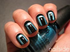 Tape Manicure nail art design in Black and Metallic blue (by nailside) Get Nails, How To Do Nails, Hair And Nails, Fabulous Nails, Perfect Nails, Chloe Nails, Art Deco Nails, Nail Candy, Healthy Nails