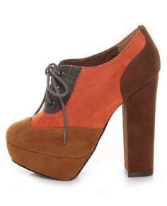 Mixx Fogo 09 Camel Kid Suede Color Block Modern Spectator Heels...if only they were solid brown