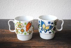 Retro Butterfly Coffee Mug Cups Colorful by vintageeclecticity, $22.00