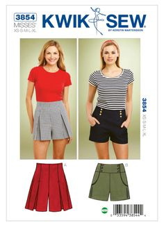 Misses' pleated or sailor-style shorts sewing pattern kwik sew patterns. Pleated Shorts, Patterned Shorts, Sewing Shorts, Kwik Sew Patterns, Sailor Shorts, Vogue, Sailor Fashion, Trends, Cool Outfits