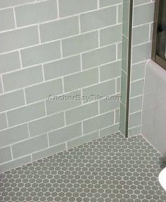 White Bathroom White Subway Tile Large Gray Floor Tiles