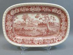 Vintage Villeroy & Boch Rusticana Red Pink Transferware Platter Mettlach Germany #VilleroyBoch