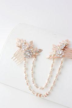 Or rose cheveux chaîne mariage bandeau perle drapé par LuluSplendor