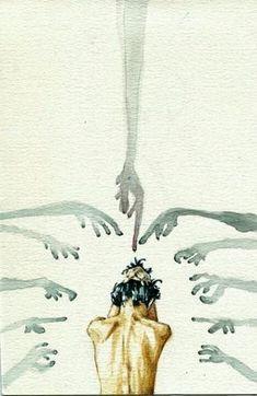 """"""" Accusations by ElegantRage """" surrealista fotografia Illustration Design Graphique, Art Et Illustration, Dark Art Illustrations, Art Inspo, Art Sketches, Art Drawings, Art Du Croquis, Mental Health Art, Art Watercolor"""