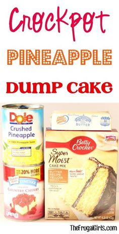Crockpot Pineapple Dump Cake Recipe! ~ at TheFrugalGirls.com ~ this easy dessert is SO delicious... just dump it in the Slow Cooker and walk away!! #slowcooker #recipes #thefrugalgirls