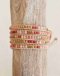 Fair Trade Stone + Crystal Wrap Red, Pink, Peach & Gold Bracelet