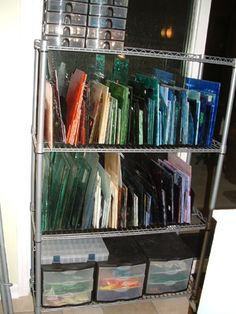 More sheet glass storage! Stained Glass Studio, Stained Glass Panels, Stained Glass Projects, Stained Glass Patterns, Stained Glass Art, Mosaic Glass, Fused Glass, Leaded Glass, Tiffany