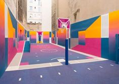Pigalle Basketball Court by Ill Studio & Nike - Inspiration Grid Ill Studio, Pigalle Basketball, Home Basketball Court, Nike Inspiration, Art Intervention, Ecole Art, Grid Design, Graphic Design, The Future Is Now