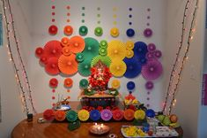 Ideas To Get Your Kids Involved This Ganesh Chaturthi is part of Diwali decorations - Ganesh Chaturthi is one of the most celebrated festivals in Maharashtra Involving the young ones in the festival will make them understand it better Ganpati Decoration Design, Mandir Decoration, Ganapati Decoration, Flower Decoration For Ganpati, Eco Friendly Ganpati Decoration, Kalash Decoration, Diy Decoration, Diwali Decorations At Home, Paper Decorations