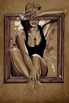 """Thousand Word's"" - Maxwell Dickson {figurative art female framed seated woman illustration}"
