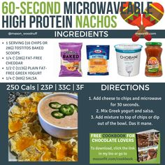 10 High Volume Snacks Under 300 Calories: Dips, Pizza, & Even Brownies Breakfast Nachos, High Protein Breakfast, High Protein Snacks, Healthy Snacks, Healthy Eating, Healthy Recipes, Protein Bites, Clean Eating, Protein Cake