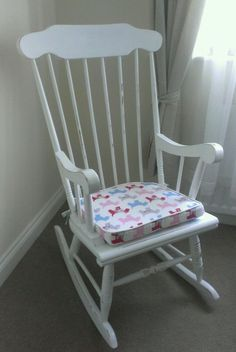 Shabby Chic Disstress Nursery Rocking Chair - Solid Wood With Brand New Seat Pad