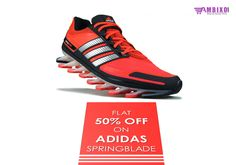 Irresistible Offer!! Get Flat 50% Off on the Latest #Adidasspringblade at our #Onlinetore. Click to Buy These Awesome Pair of Shoes Here: http://www.ambixo.com