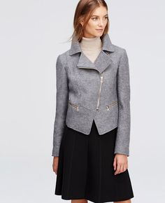 """Done in rich boiled wool, we've revved up cold weather style with this moto-inspired piece. Notched lapel. Long sleeves. Exposed metal asymmetrical zip front. Exposed metal zip pockets. Back yoke. Lined. 18 3/4"""" long."""