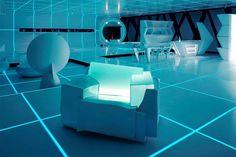 The Futuristic Home Interior Setting Tron. @ Christopher Chicco. I found our furniture!!!