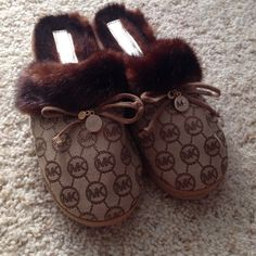 Michael Kors fuzzy slippers Worn once like new gold and tan MK slippers Michael Kors Other
