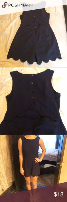 Monteau Scalloped Romper Super cute and great material! Color is navy blue Monteau Other
