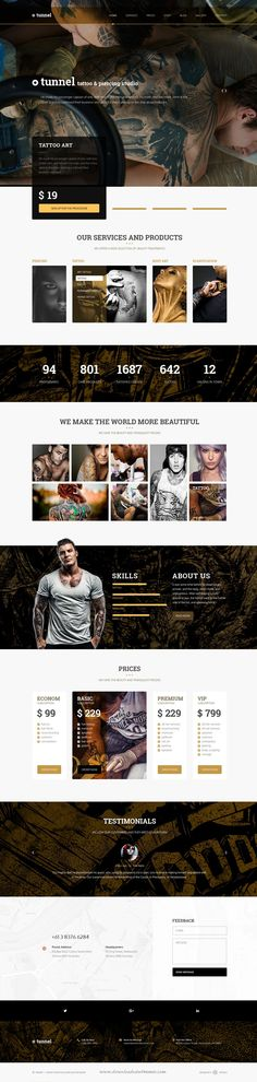 Tunnel is a modern and stylish PSD template design perfect for any #tattoo, body art or piercing #studio #website.