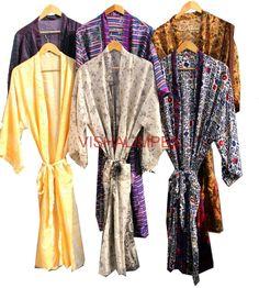 Vintage Woman's Silk Sari Kimono Jacket Bathrobe Cover Up Wholesale Lot 15Pcs #Handmade #Kimono