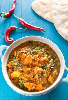vegetarische curry met zoete aardappelen