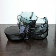 Seks dessertskåler i sotet glass. Hadeland, Johansson. Multe. Så og si ubrukt. Merket. kr 635 Grey Glass, Sugar Bowl, Bowl Set, Vase, Kunst, Vases, Jars