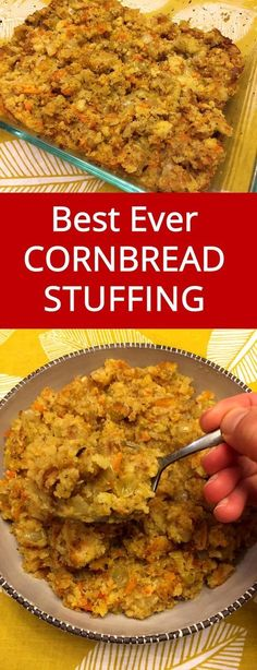 Easy Cornbread Stuffing – Best Ever Dressing Recipe For Thanksgiving or Christmas! - - This is the best cornbread stuffing recipe ever! Super easy to make and so delicious, you'll never make your cornbread dressing any other way! Thanksgiving Sides, Thanksgiving Recipes, Holiday Recipes, Holiday Meals, Dinner Recipes, Christmas Desserts, Thanksgiving Dressing, Thanksgiving Celebration, Holiday Dinner