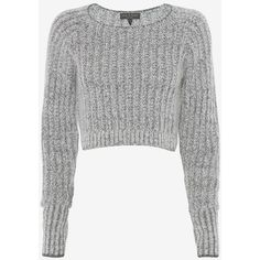 rag & bone Makenna Crop Sweater (€200) ❤ liked on Polyvore featuring tops, sweaters, shirts, jumpers, crop tops, grey, grey knit sweater, pullover sweater, long sleeve shirts y knit pullover sweater