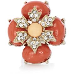 Warehouse Coral And Diamante Oversized Ring