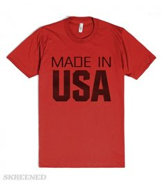 Made In USA | American Apparel Unisex Fitted Tee / Red with dark metallic letters and black Usa flag #Skreened
