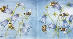 RARE Single(one)napkin Flower / Bee blue  for collectors/decoupage,mixed media,scrapbooking and other art and crafts door Dalilasdecoupage op Etsy